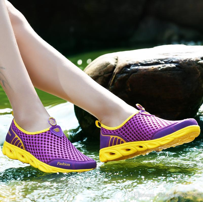 Bjakin Men Women Aqua Shoes Outdoor Beach Water Shoes Upstream Creek Snorkeling Boots Air Mesh Non-Slip Light Sneakers