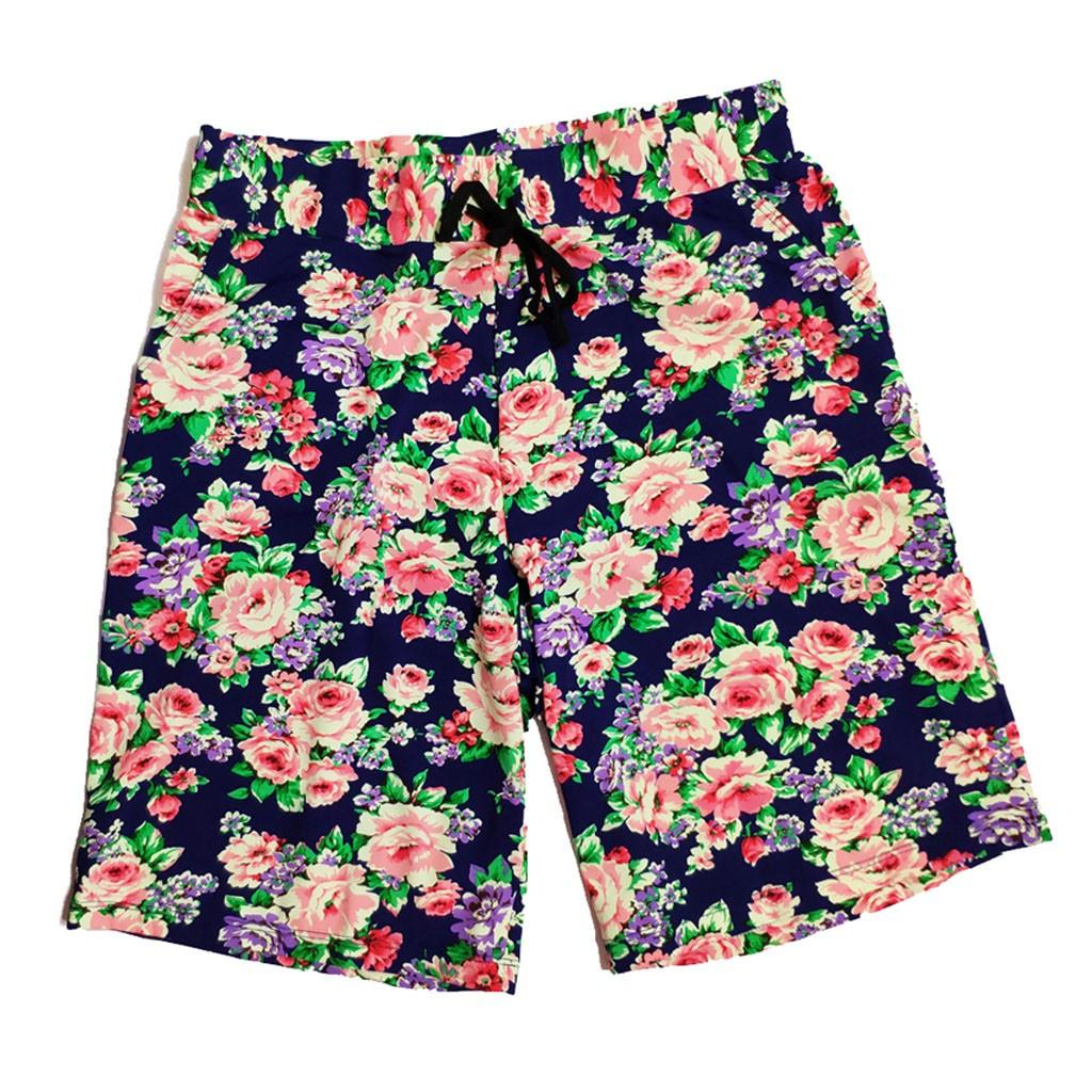 CHAMSGEND Shorts Hawaiian Flower Printing Beach Shorts Plus Size Men Elastic Waist Trunks Board Pants Summer Quick Dry 23.JAN.15