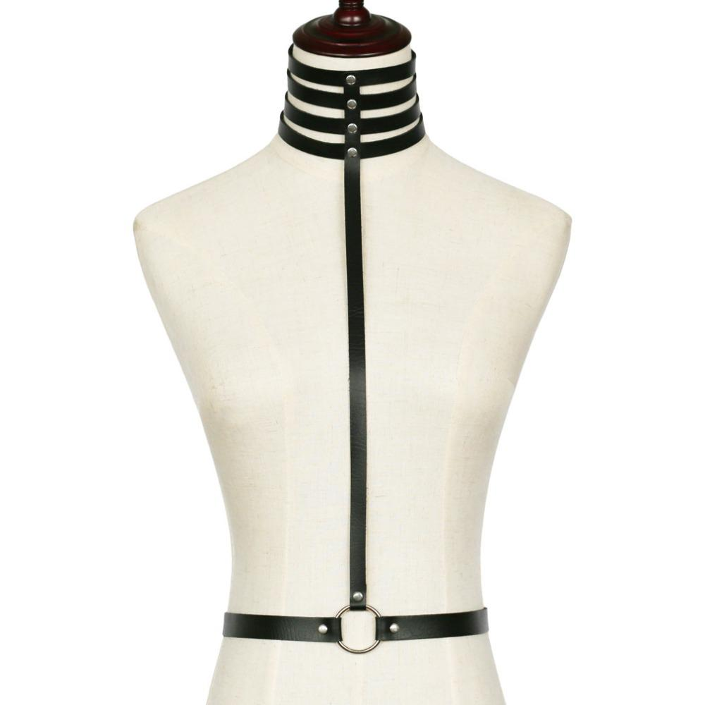 MVEXO Fashion Sexy Harajuku Multilayers Wide Choker Harness Punk Collar Leather Bondage Necklace Bra Torques Club Party Jewelry KMVEXO Fa...