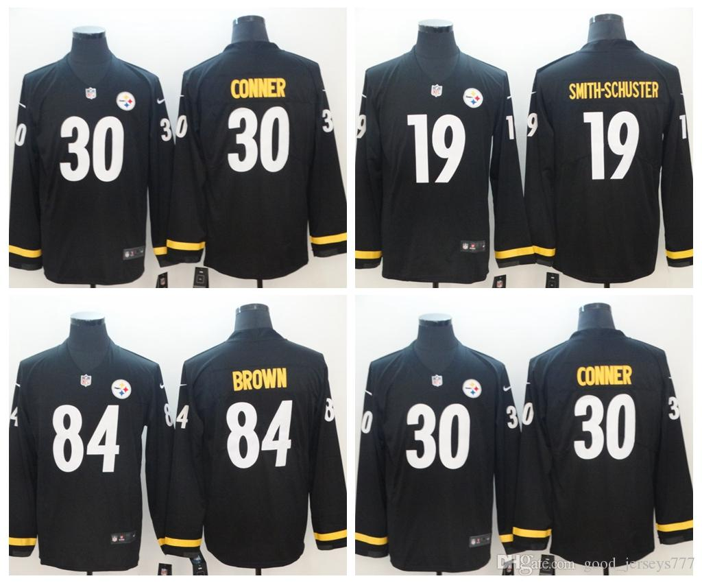 Long Sleeve Steelers 84# Antonio Brown 19# JuJu Smith-Schuster 30# James Conner Teams Therma Pittsburgh Long Sleeve Stitched Football Jersey