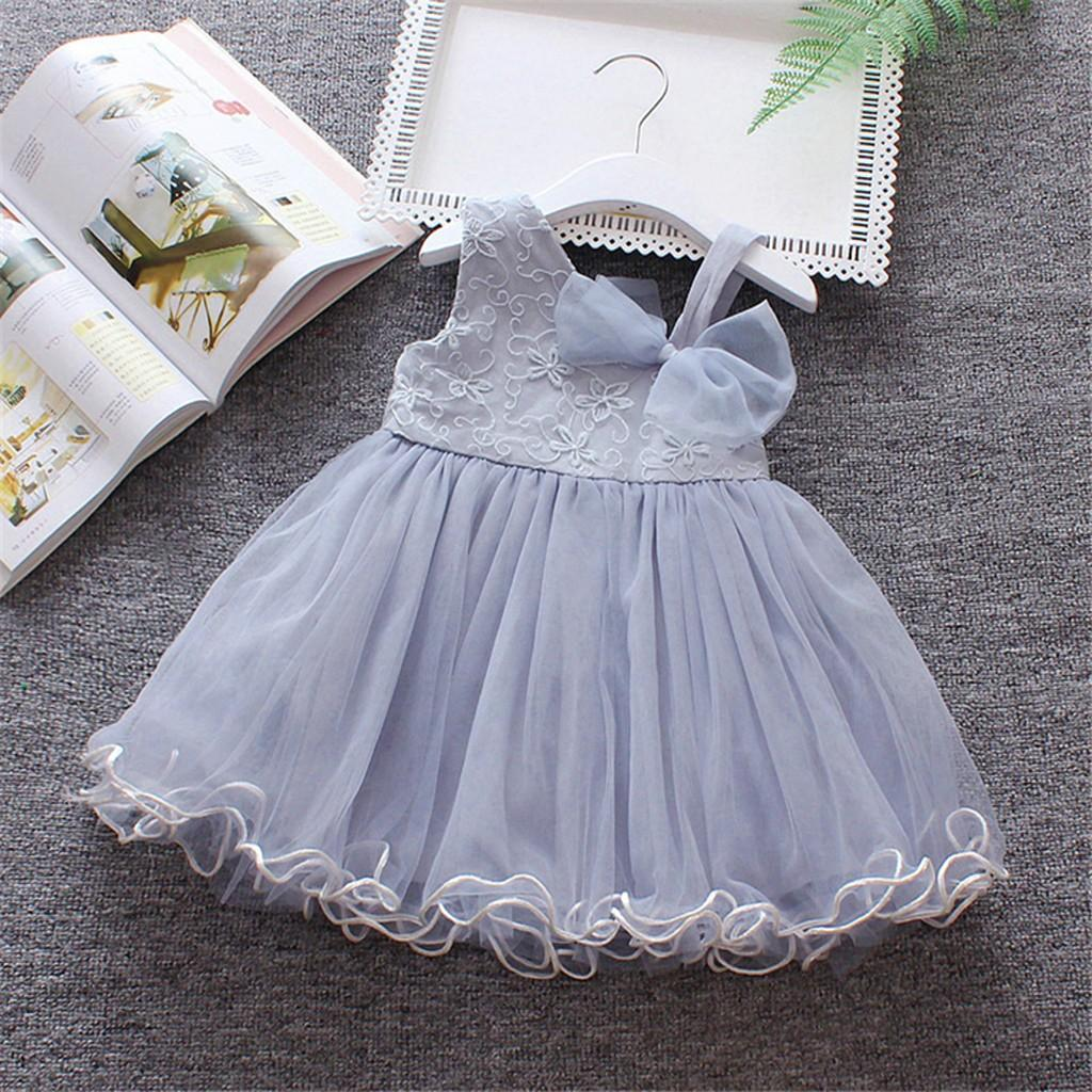 39bb9111d4bf8 Fashion Toddler Baby Girls Sleeveless Solid Tulle Skirt Floral Party  Princess Summer Dresses 2019 Hot Selling