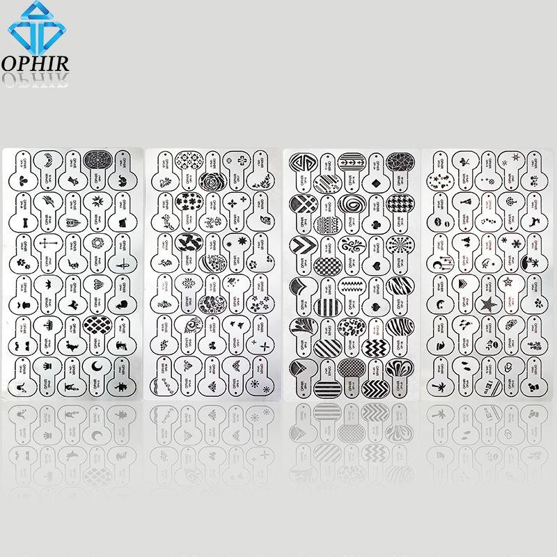 Satın Al Toptan 120x Metalik Airbrush Tırnak Stencil Geometrik Desen
