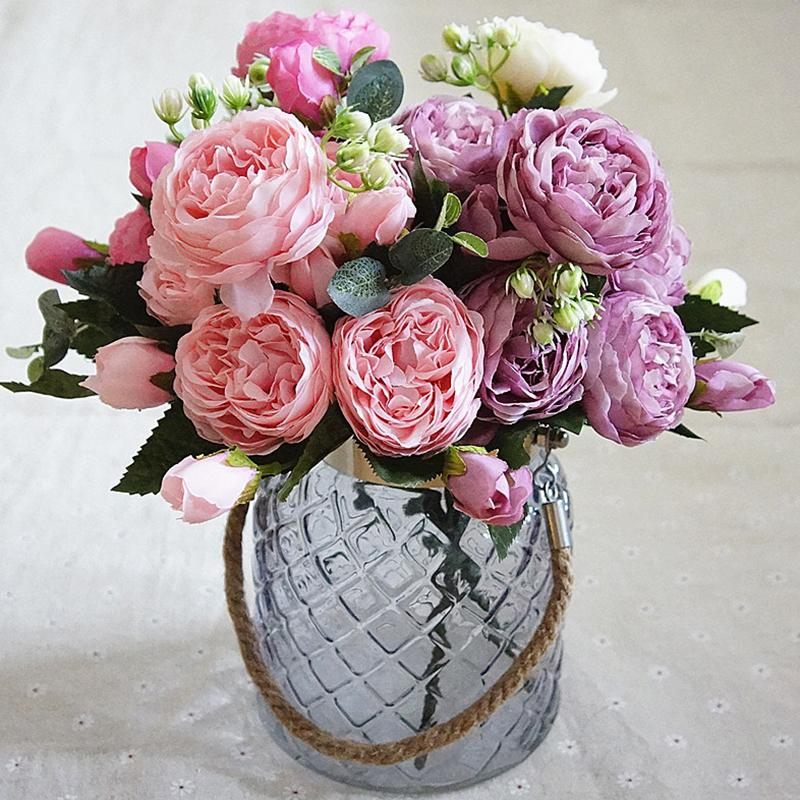 2018 Beautiful Rose Peony Artificial Silk Flowers Small Bouquet Flores Home Party Spring Wedding Decoration Mariage Fake Flower C19021401