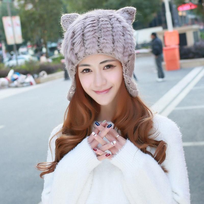 7695bb711849 HT2163 Rabbit Fur Hats Women Cute Ears Knitted Hats Ladies Solid Winter Cap  Korea Style Winter Beanies Warm Earflap Caps Summer Hats Funny Hats From ...