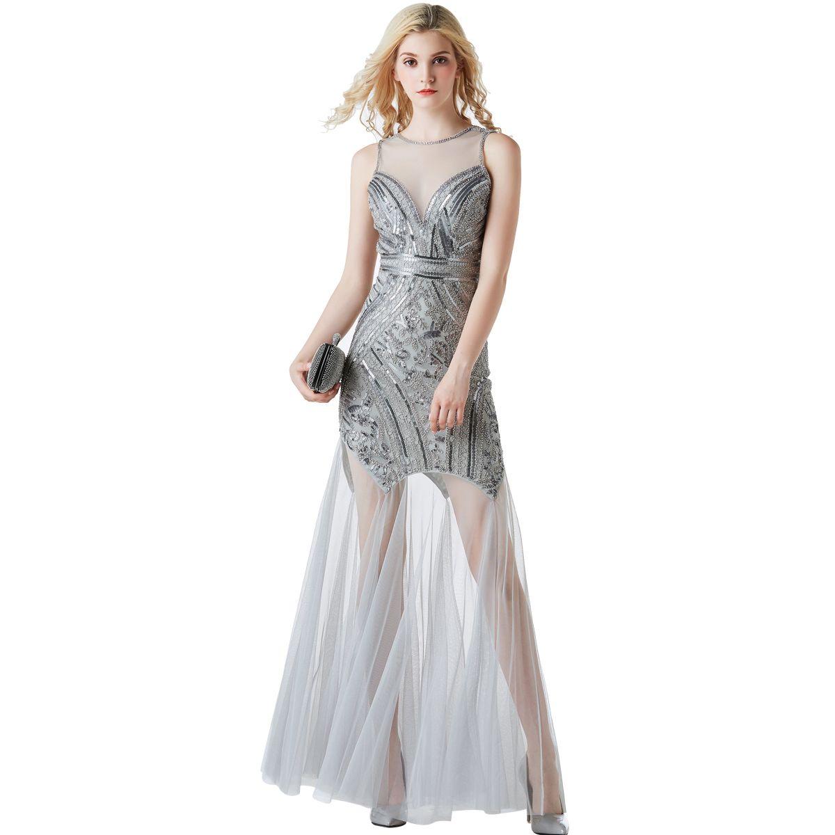 2019 Sequin Long Evening Dress Formal Party Vintage