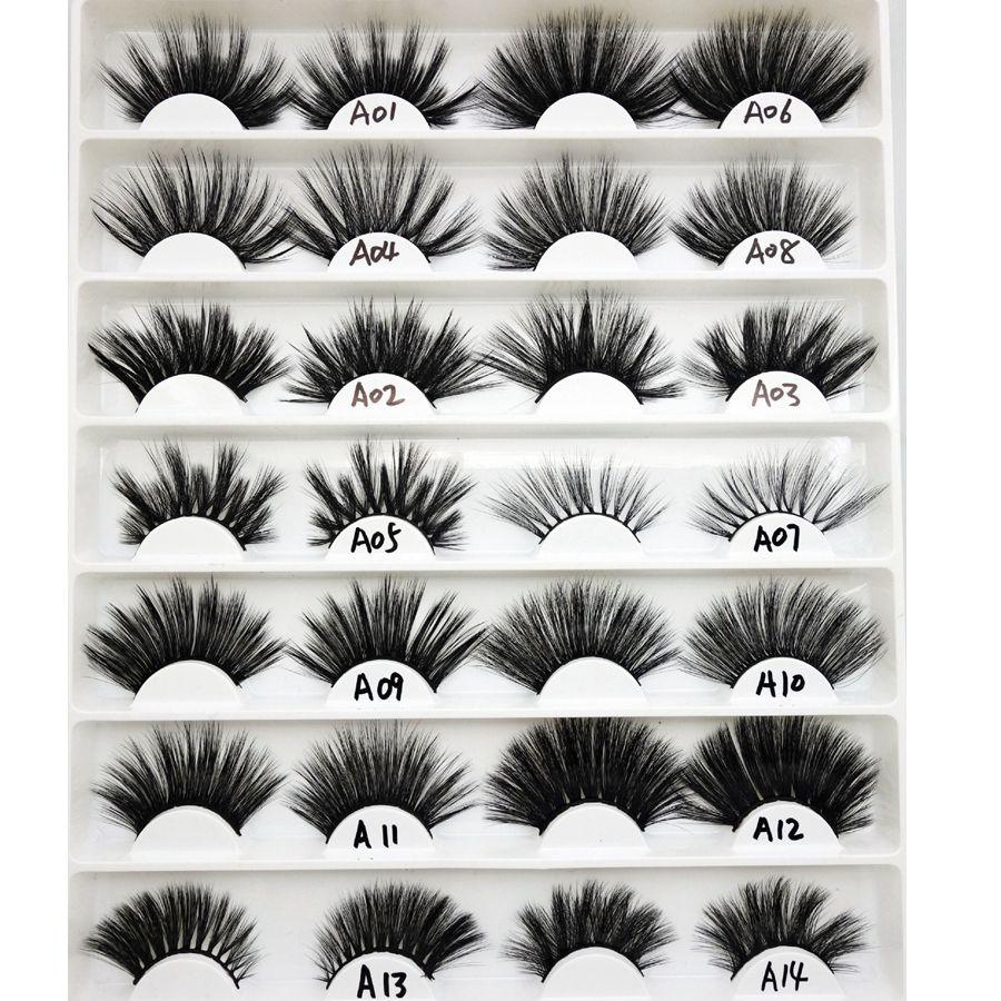 3D Mink Eyelashes 25mm Mink Eyelash Eye Makeup Thick Long Curl Mink Lashes  Extension Natural False Eyelashes RRA1525