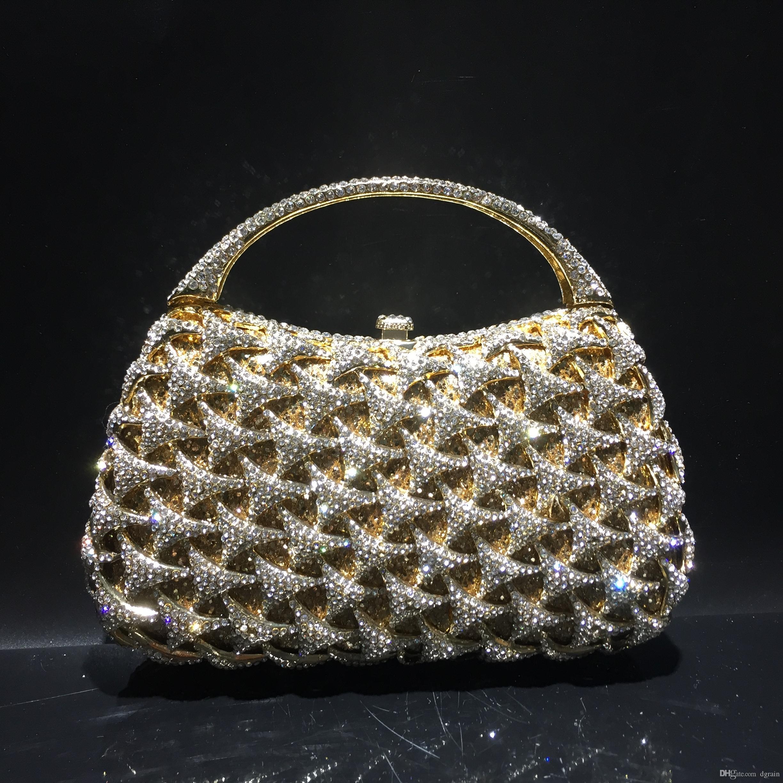 Dgrain Luxury Hollow Crystal Purse Evening Clutch Bag Women Metal Box  Minaudiere Wedding Party Dinner Diamond Handbag Dinner Purse Bolsas Straw  Handbags ... 29486c80c8a94