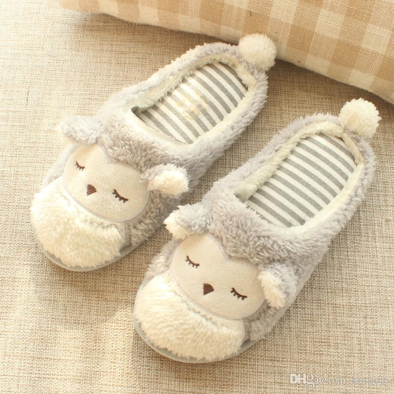117a3513a473 Winter Indoor Bedroom Owl Slippers Women Flats Shoes Cartoon Warm Non Slip  Cotton Shoes Furry Home Slipper Cheap Shoes Riding Boots From Kimjojo