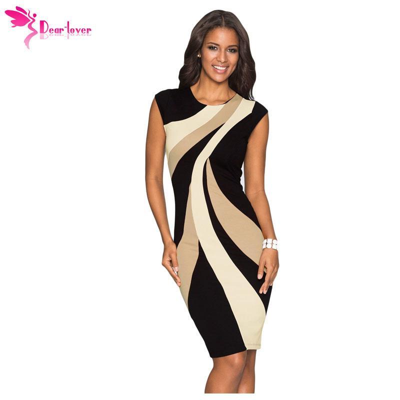609b73199b Compre Estimado Amante Vestido De Oficina Dama De Trabajo Funda Taupe  Acentos Colorblock Patrón Geométrico Tubo Delgado Vestido De Lápiz Vestidos  Mujer ...