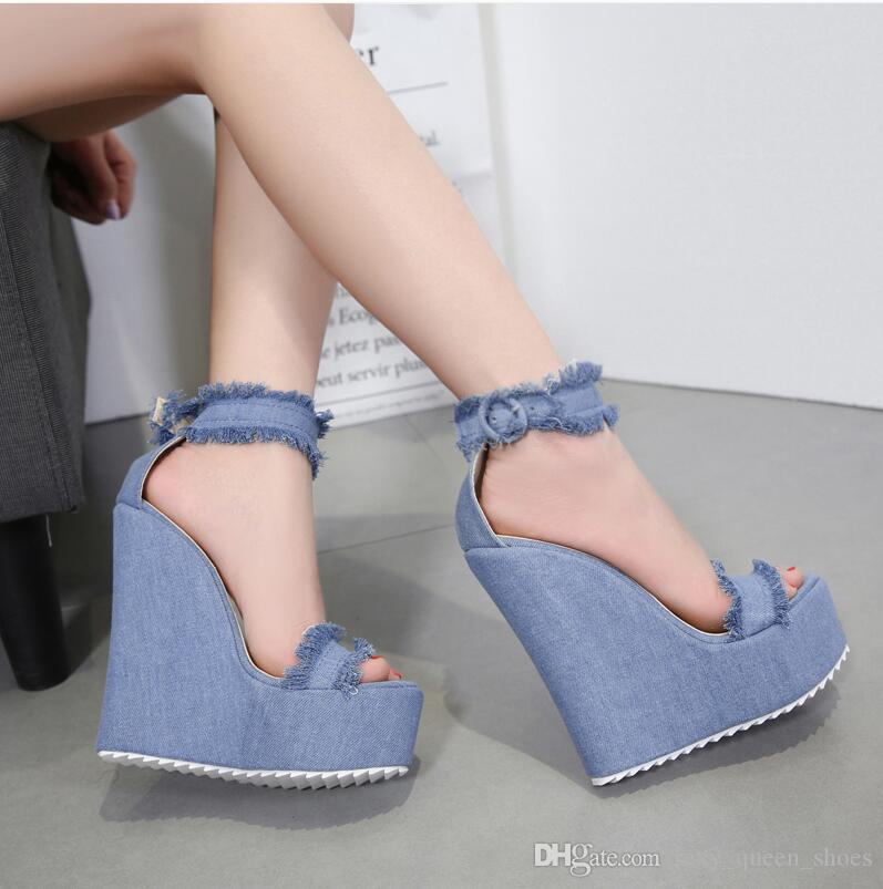 2019 NEW Sexy Jeans Women Wedges Sandals Sexy Summer Heels Open Toes Shoes Buckle Thick Sole Blue 15cm Free Shipping