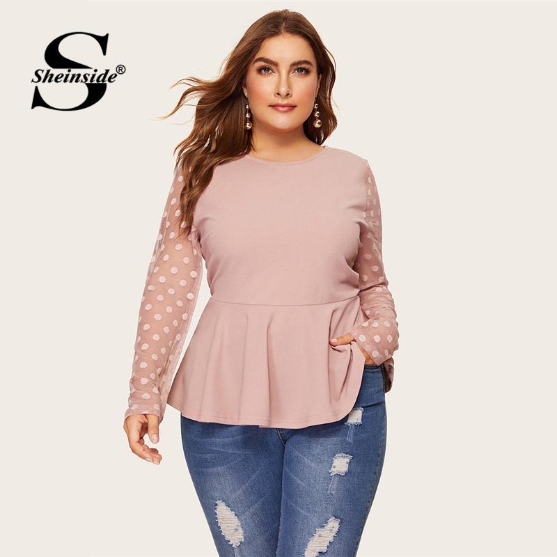 5d3ff4936da 2019 Sheinside Plus Size Elegant Polka Dot Mesh Sleeve Blouse Women ...
