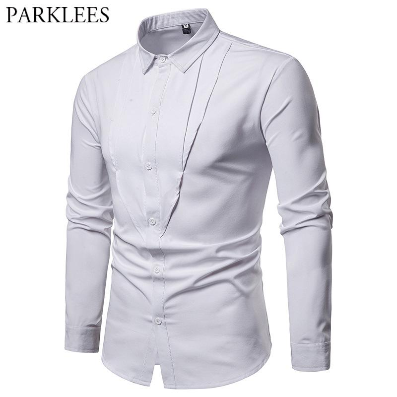 cde81f528 2019 Mens White Wedding Dress Shirt Casual Slim Fit Male Patchwork Tuxedo  Shirts Long Sleeve Business Work Plus Size Chemise Homme 2X From Songzhi,  ...