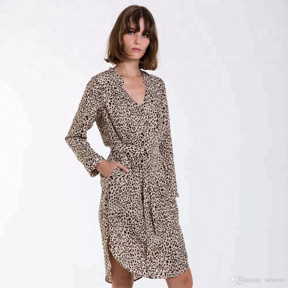 The Spring Autumn Fashion Ladies Long Shirt Dress Leopard Print Cheetah  Print Loose Fitting Twill Chiffon Women Dress Flower Summer Dresses Golden  Party ... 02a0cf0a3