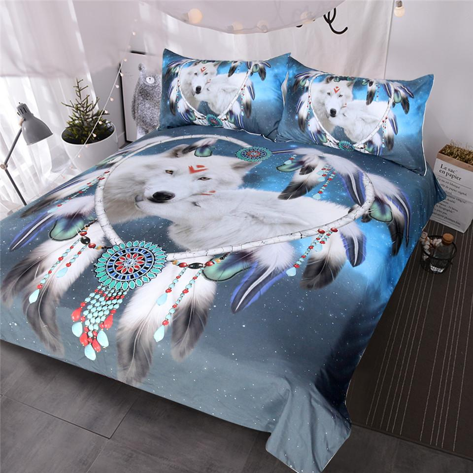 Native American Bedding Sets.Blessliving Wolves Couple Bedding Set Native American Wolf Duvet Cover Tribal Animal Galaxy Bed Set Heart Dreamcatcher Bedspread