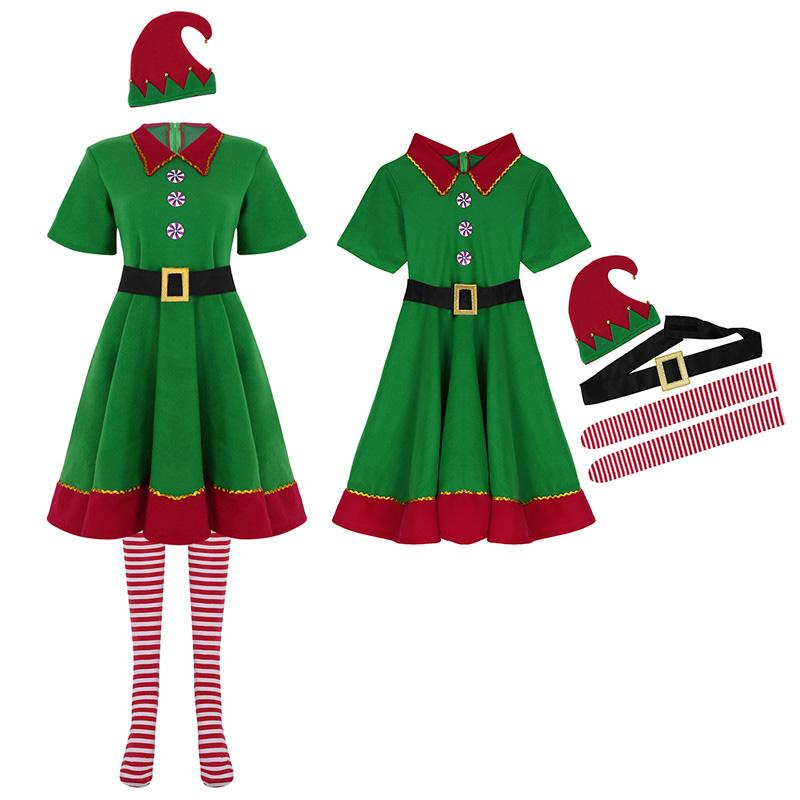 DPOIS Women Adult Christmas Costume Short Sleeve Lapel Dress With Hat Belt  Socks Set For Xmas Elf Costume Cosplay Party Dress Up Princess Costumes  Halloween ... 2db1050b2