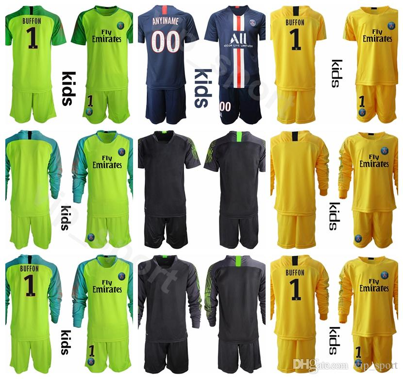 info for 0d57c 776ff Goalkeeper GK Long Sleeve PSG Youth 16 Alphonse Areola Jersey Set Kevin  Trapp 30 Marcin Bulka Football Shirt Kits Uniform XXS-XXL