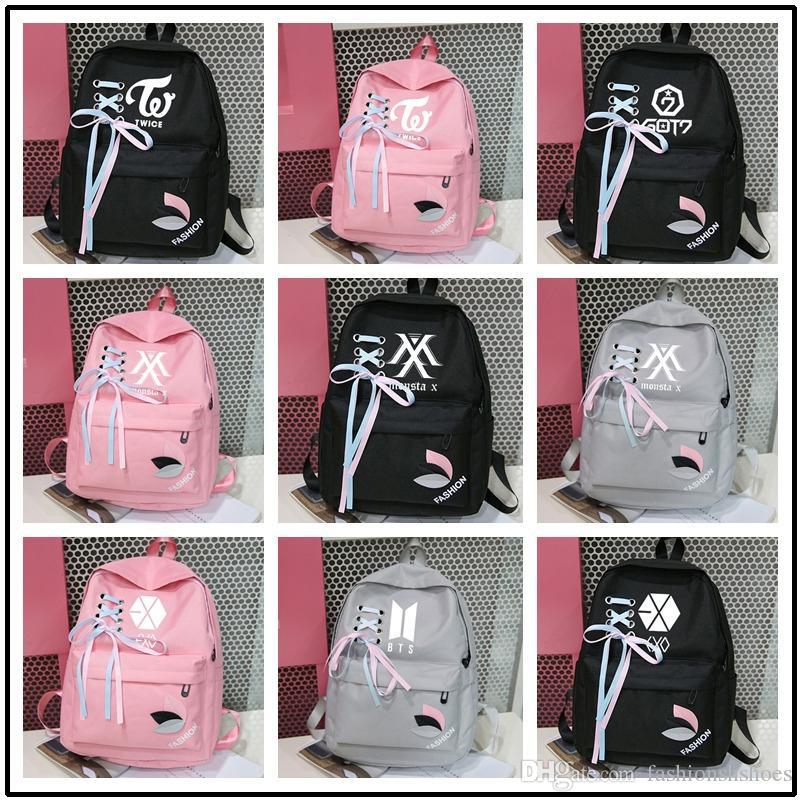 7c35a43184 New 2019 Exo Got7 Canvas Bts Backpack Kpop K Pop Bangtan Boy Backpacks  BagMonsta X Rucksacks Femme Women Sac A Dos Twice #210612 Toddler Backpack  Kelty ...