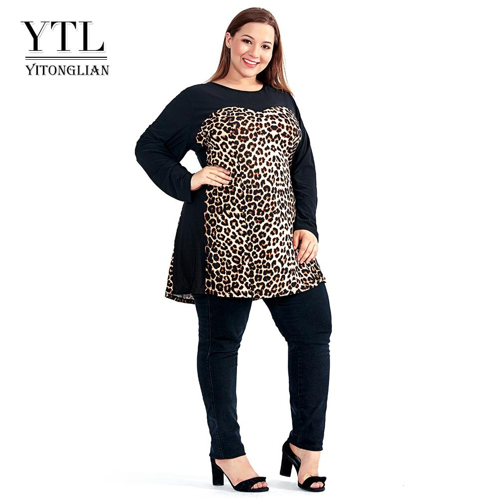 7ce2c2387c66e Women Plus Size Shift Dress Leopard Colorblock Big Size Woman Dress Spring  Summer Tunic Slim Party Dress 5xl 6xl 7xl H102 J190509