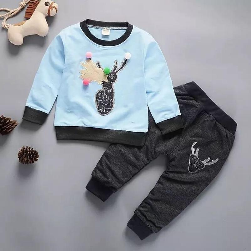 a4418d4009932 Acheter Enfants Hiver Vêtements Chauds 2019 Nouveau Bébé Fille Garçon  Enfants Dessin Animé Cerfs Tops + Pantalons Tenues Mignon Doux Confortable  Enfants ...