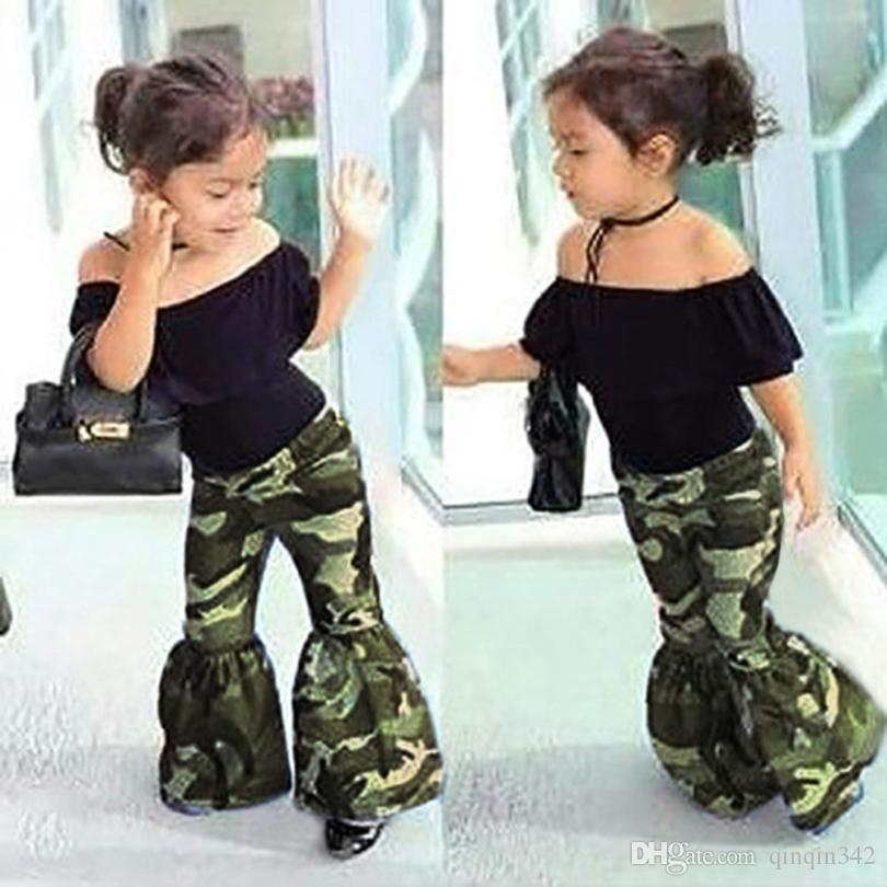 3f417c5313a 2019 Hot Summer Baby Girls Clothes Camouflage Tops+Pants Set Outfits Clothes  Pattern Style Baby Suit For Baby Kids Girls Set From Qinqin342