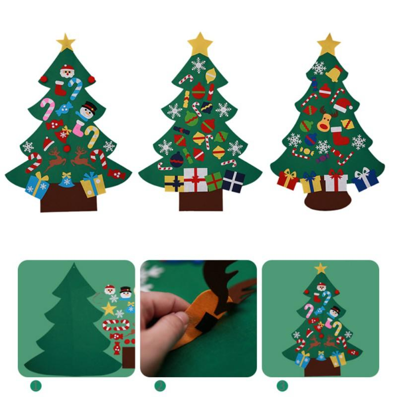Diy Felt Christmas Tree New Year Gifts Party Kids Toys Wall Hanging