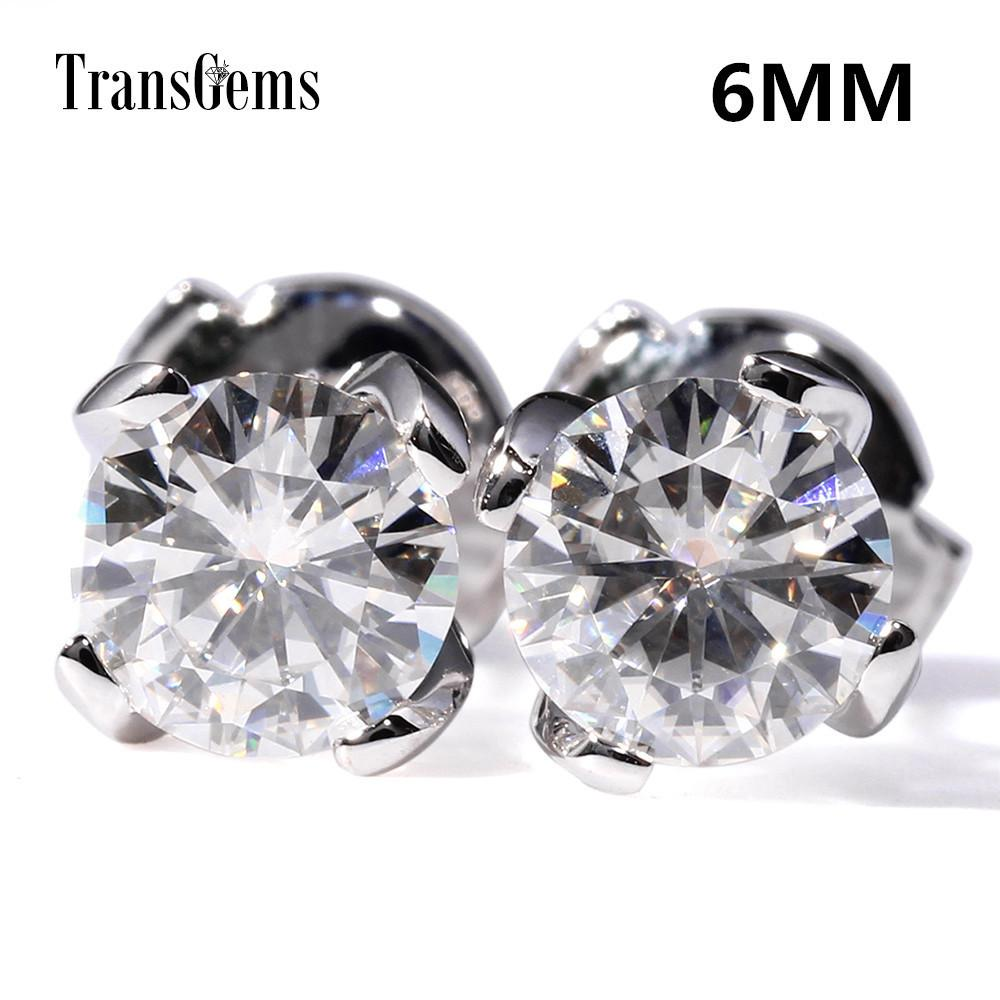 Transgems Center 0.8ct 6mm F Cor Moissanite Diamante 14k 585 Ouro Branco 1.6ctw Brincos Push Back Para As Mulheres Presente Y190726
