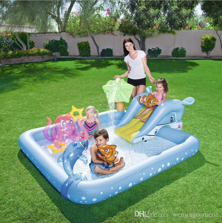 Mother & Kids Swimming Pool & Accessories Inflatable Paly Pool For Kids Water Paly Children Water Slide Toy Best Birthday Party Gifts 100% High Quality Materials