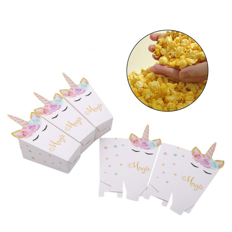 Unicorn Cute Popcorn Box Party Supply Case Gift Box Favor Accessory Kids Birthday Wedding Party Supplies