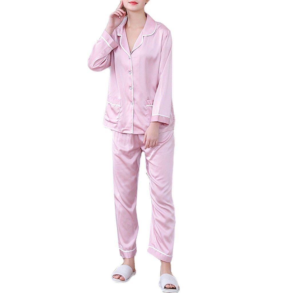 040e47470460 2019 Fashion Silk Womens Solid Color Satin Button Down Pajamas Set ...