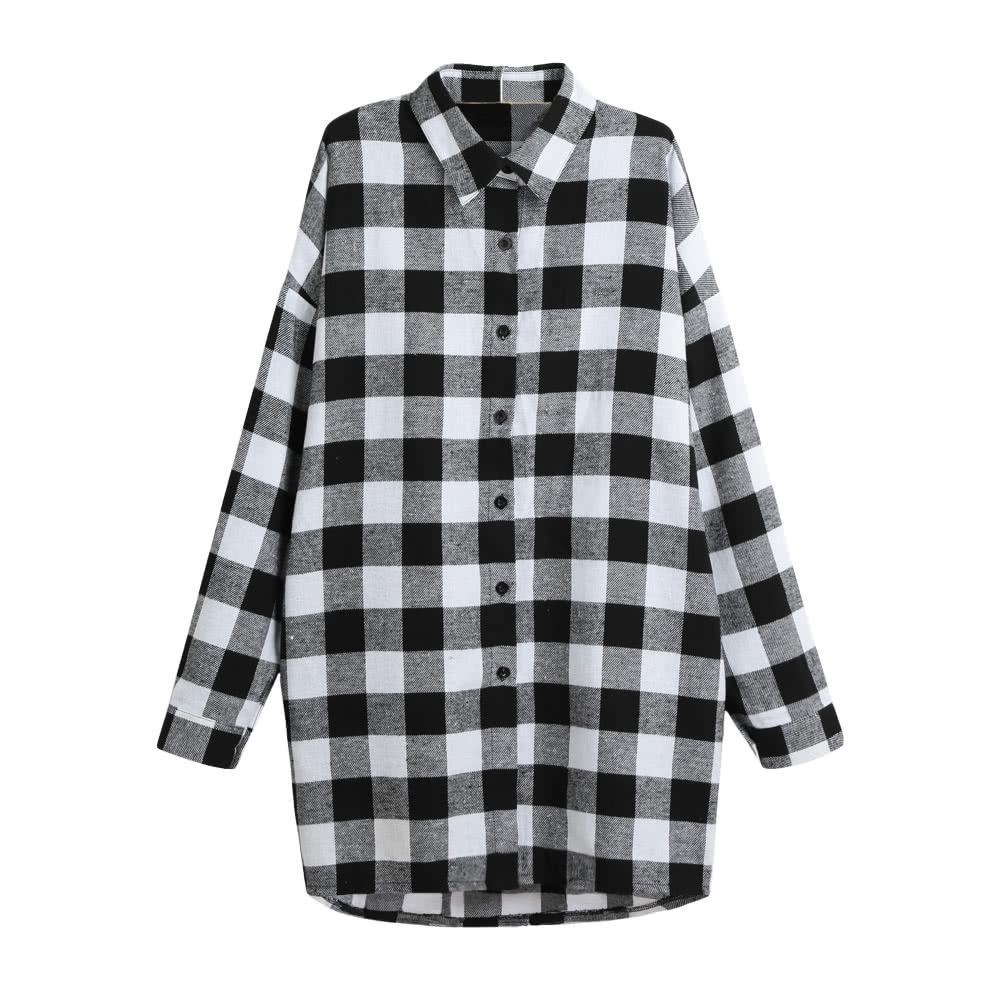 Women Fashion Women Cotton Plaid Shirt Dress Long Sleeve Irregular Plus  Size Casual Check Tunic Long Blouse Top Black/Red G9279B-M