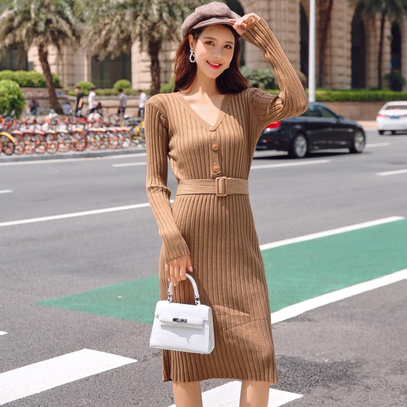 277187adcc92 Autumn V Neck Single Breasted Sashes Women Sweater Dress Striped Skinny Knee  Length Female Knitted Dress Vestidos Pink Dresses For Teens Sundresses  Womens ...