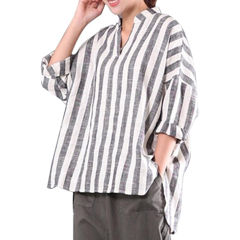 e93076a799936d 2019 EFINNY Spring Women Striped Shirt Blouse Women'S V Neck Large Size  Shirt Long Sleeve Loose Clothing Femme Blusas Shirts Blous From Vanilla01,  ...