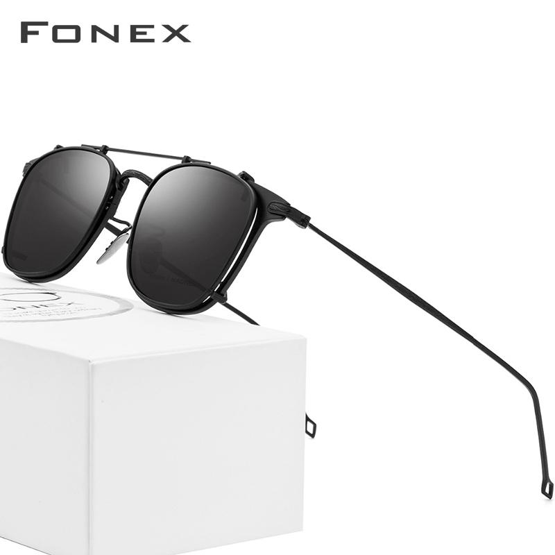 51df09a3a2 Compre B Marco De Gafas De Titanio Puro Clip De Hombre En Gafas De Sol  Polarizadas Gafas Graduadas De Sol Para Mujeres Cuadradas Miopía Gafas  Ópticas A ...