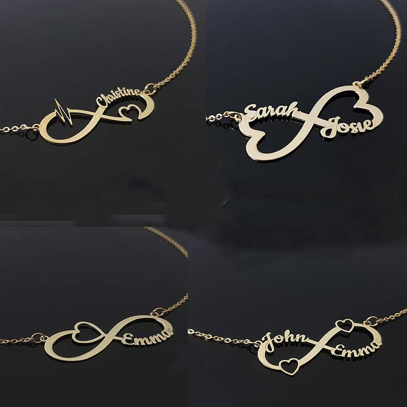 11491a7db6007 Custom Infinity Name Necklace Personalized Silver Gold Rose Heart Choker  Necklace Women Men Bridesmaid Gift Couple Jewelry BFF