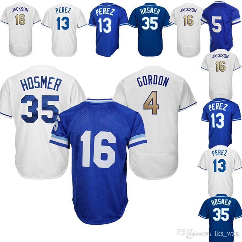 promo code 24db2 d24e3 The New Baseball jerseys Kansas City Royals jerseys 13 Salvador Perez 16 Bo  Jackson 4 Alex Gordon Embroidery logo Top Quality