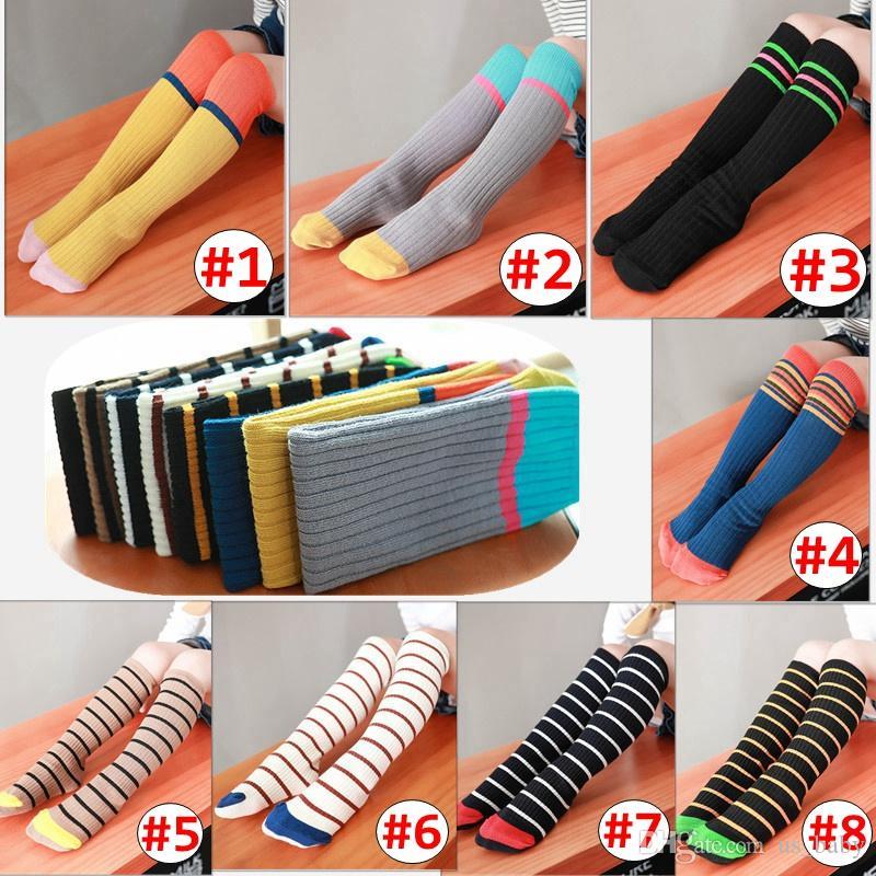 4c97a04ec INS Girl Stripe Socks Kids Knee High Tights Children Spring Autumn ...