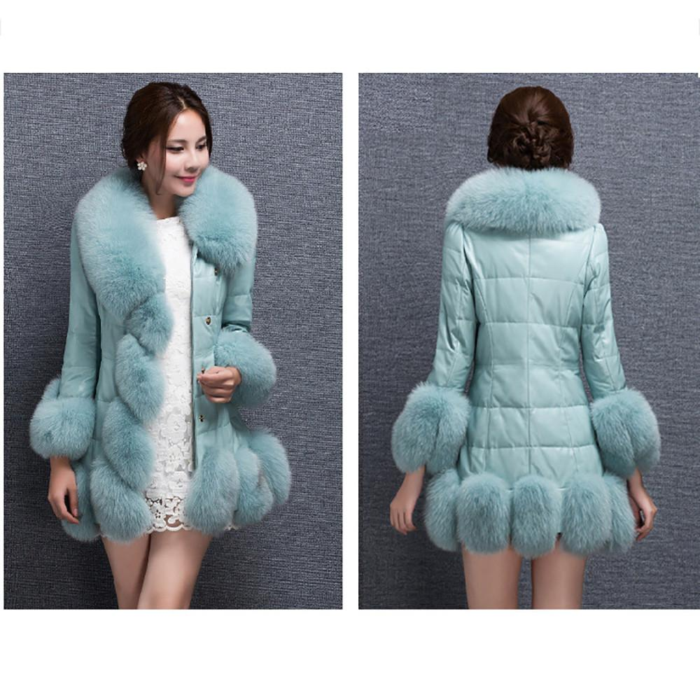 1e55e04ff Winter Women Faux Fur Coat Elegant Warm Splice Outerwear Long Fake Fur Down  jacket Women duvet stitched medium long coat