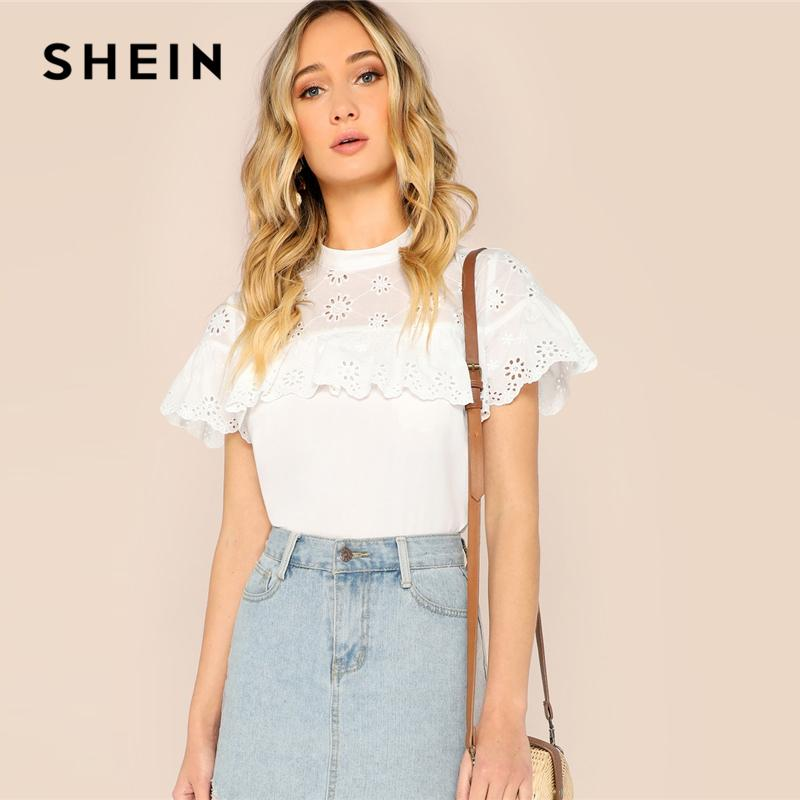 2c5368bc15 2019 SHEIN White Mock Neck Ruffle Trim Eyelet Embroidered Top Blouse Women  2019 Spring Stand Collar Flounce Sleeve Top Blouses Q190423 From Tai03, ...