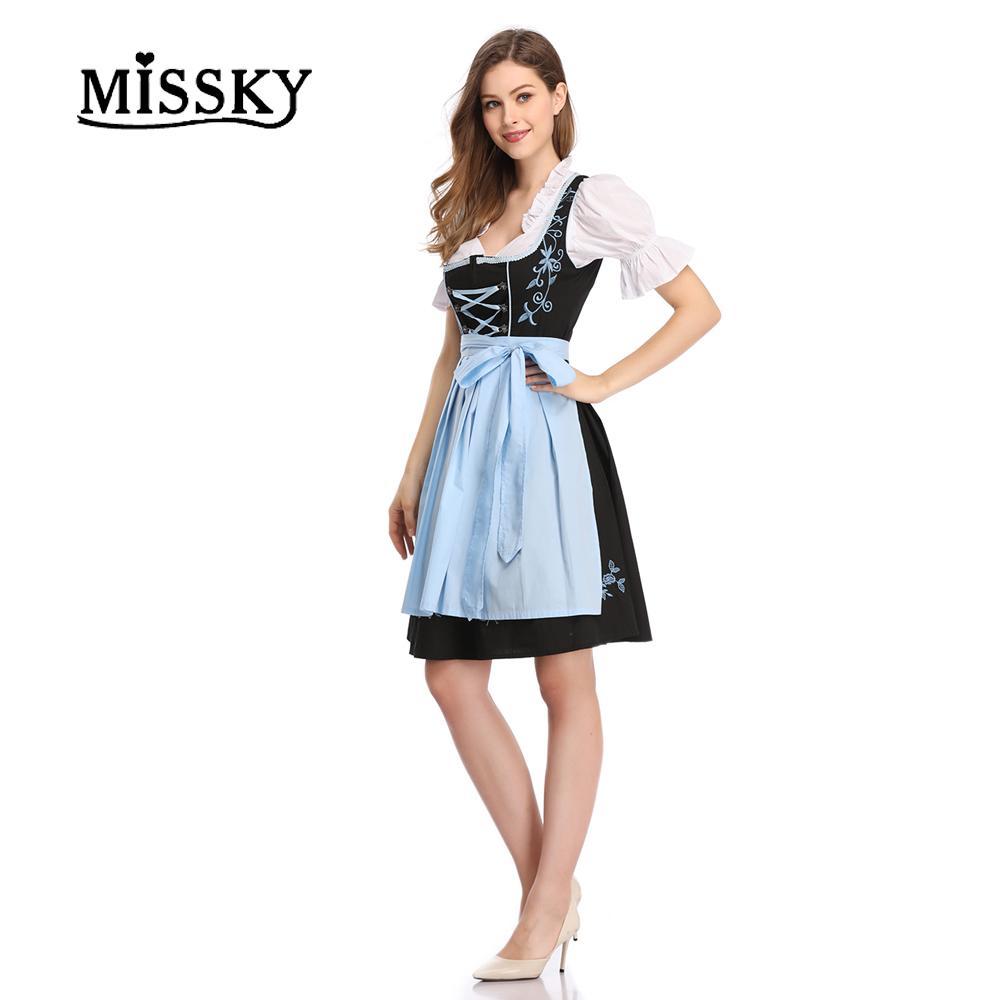 0d72537845650 MISSKY Free Shipping Women's 3 Pieces Costumes Oktoberfest Costume  Oktoberfest Bavarian Dirndl Maid Peasant Dress Party Female