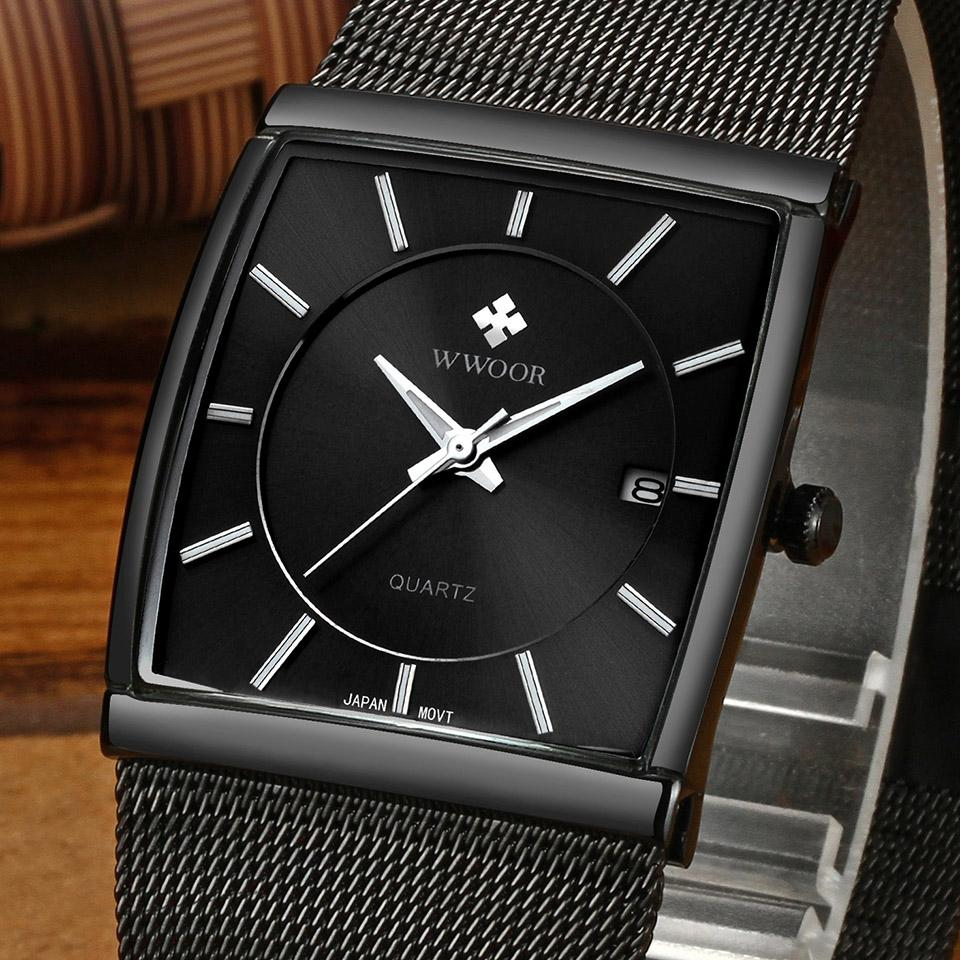 4cefe3488ea Compre Marca De Luxo Design Clássico Retangular Masculino Relógios Casuais  Relógio De Moda Homem Calendário Homens De Quartzo Relógio De Pulso Preto  ...