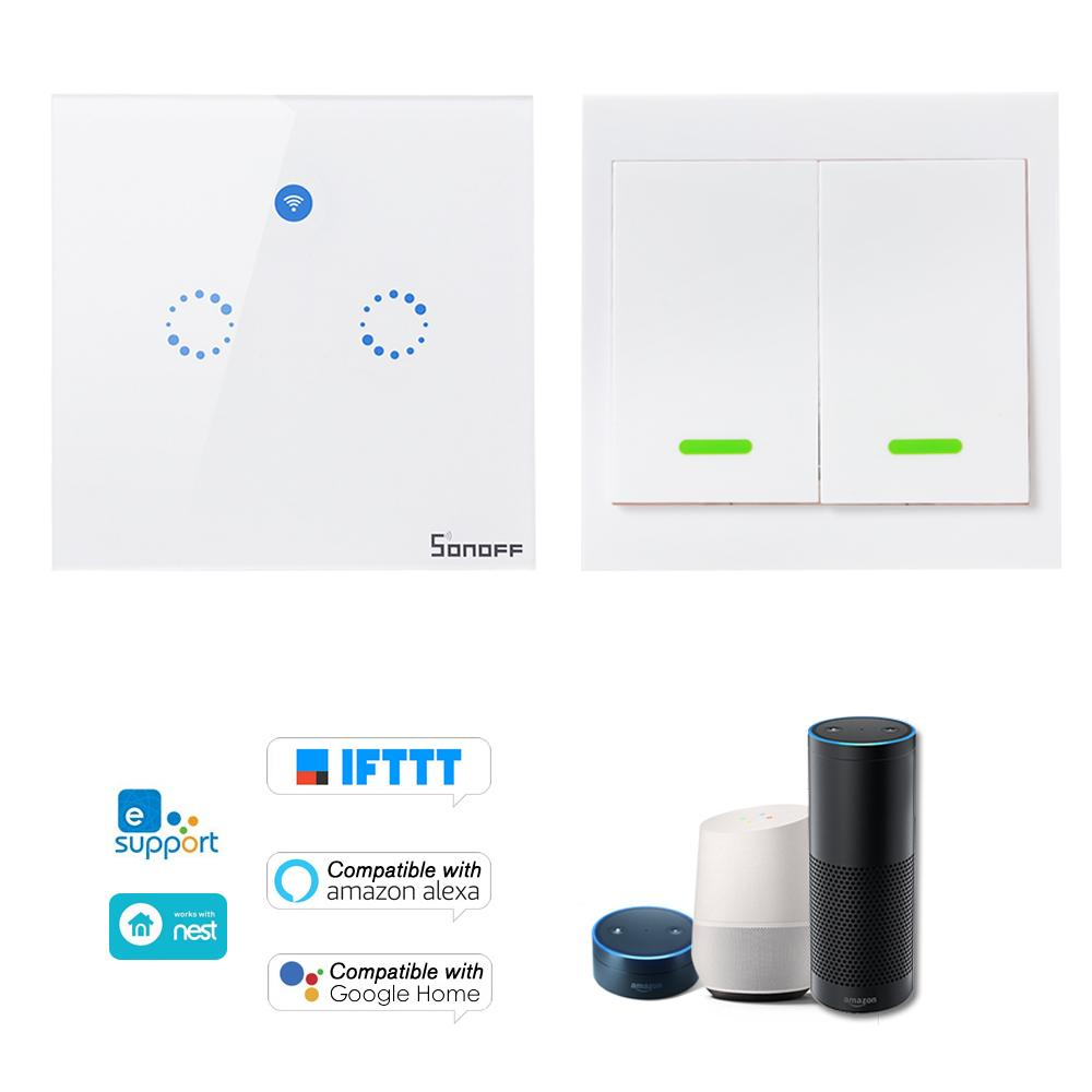 SONOFF T1 EU ITEAD 2 Gang Smart WiFi Wall Light Switch 433MHz RF / APP / Touch Control Timer para Google / Amazon RF inalámbrico remoto