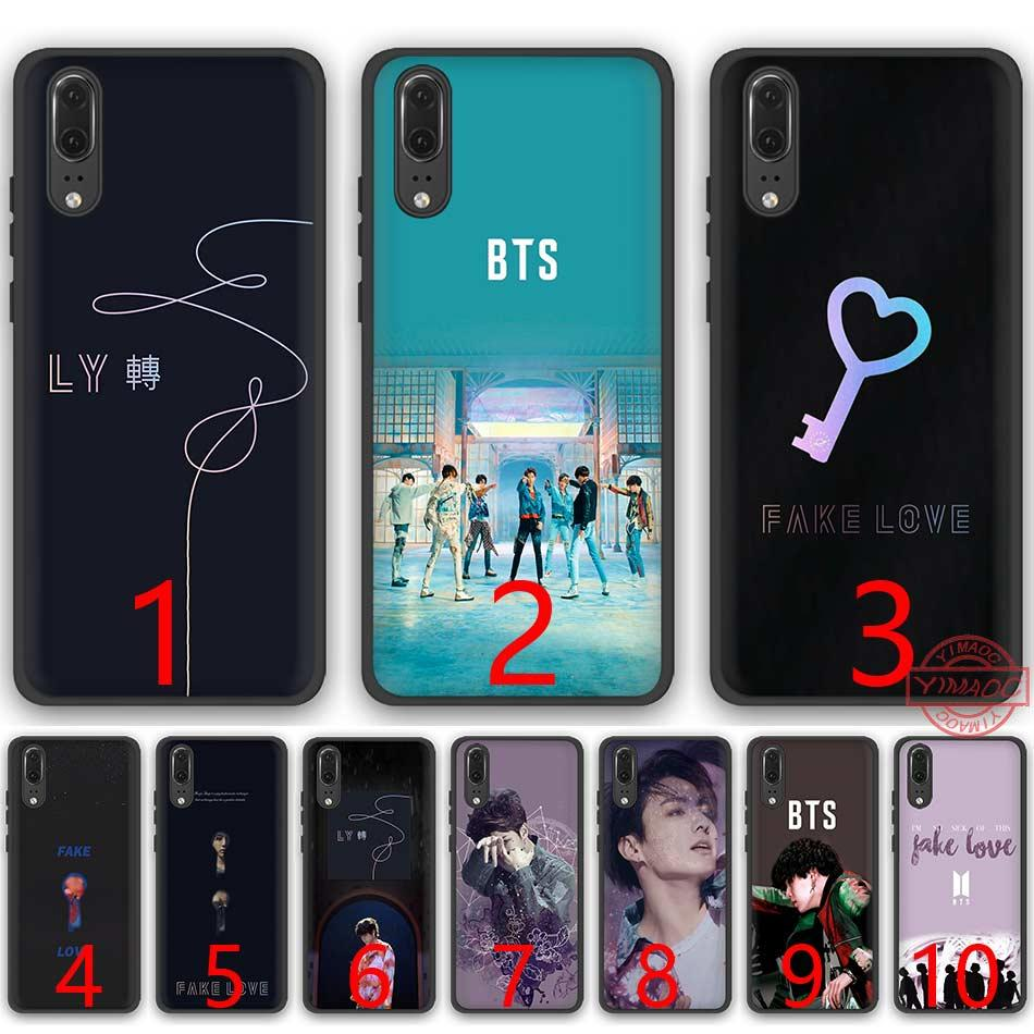 outlet store ac98b 32673 BTS Fake Love Bangtan Boys Soft Silicone Black TPU Phone Case for Huawei P8  P9 P10 P20 Lite Pro P Smart Cover