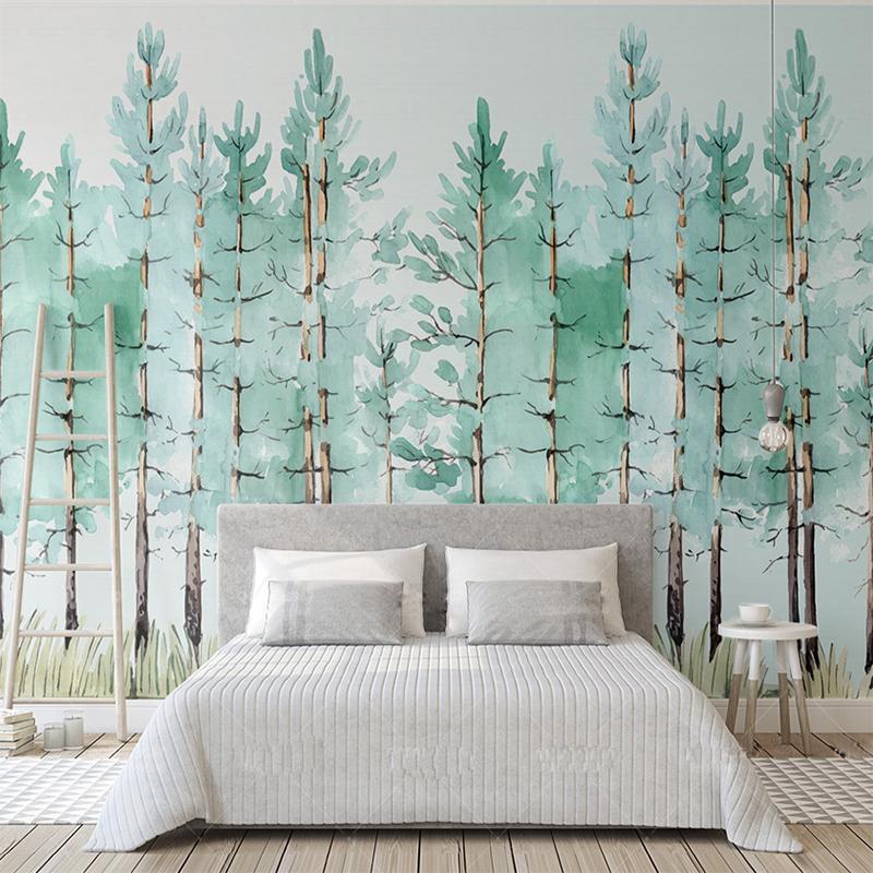 Acquista Murale Carta Da Parati Moderna Moda Verde Menta Foresta