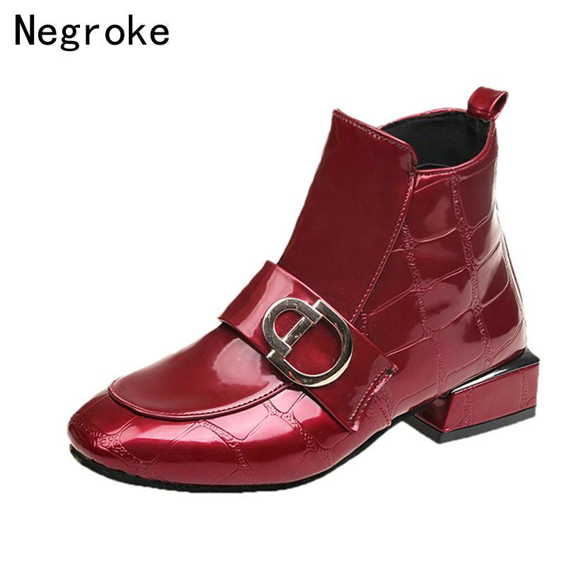 c4588d30937 Compre Diseñador De La Marca Mujer Botas 2019 Moda Zapatos De Tacón Bajo  Calzado De Goma Brillante De Cuero De LA PU Botines Femme Botines Zapatos  Mujer A ...
