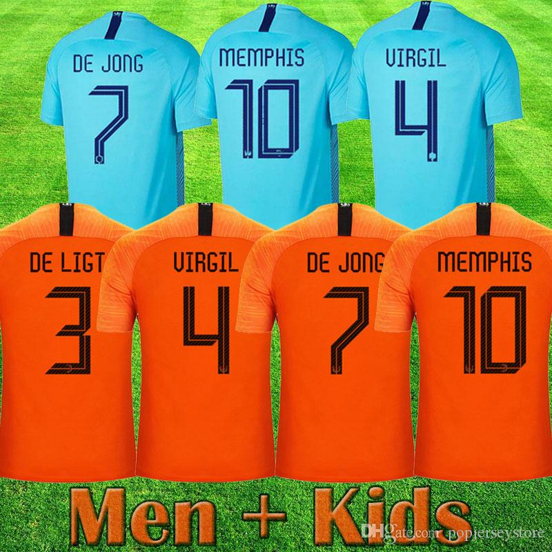 4a009eaae 2019 Netherlands Soccer Jerseys DE JONG Holland MEMPHIS Football Kits Shirt  DE LIGT VAN DIJK VIRGIL Kids Jersey STROOTMAN PROMES Child Football From ...