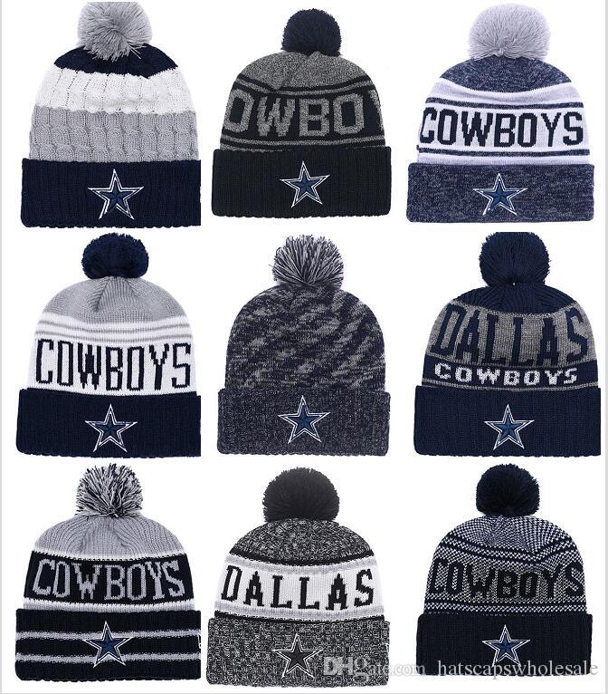 28d167376626a 2019 Wholesale New Pom Poms Men Women Winter Hats Sports Dallas Cowboys  Beanies Fashion Knitting Hat Brand Thick Female Warm Caps From  Hatscapswholesale