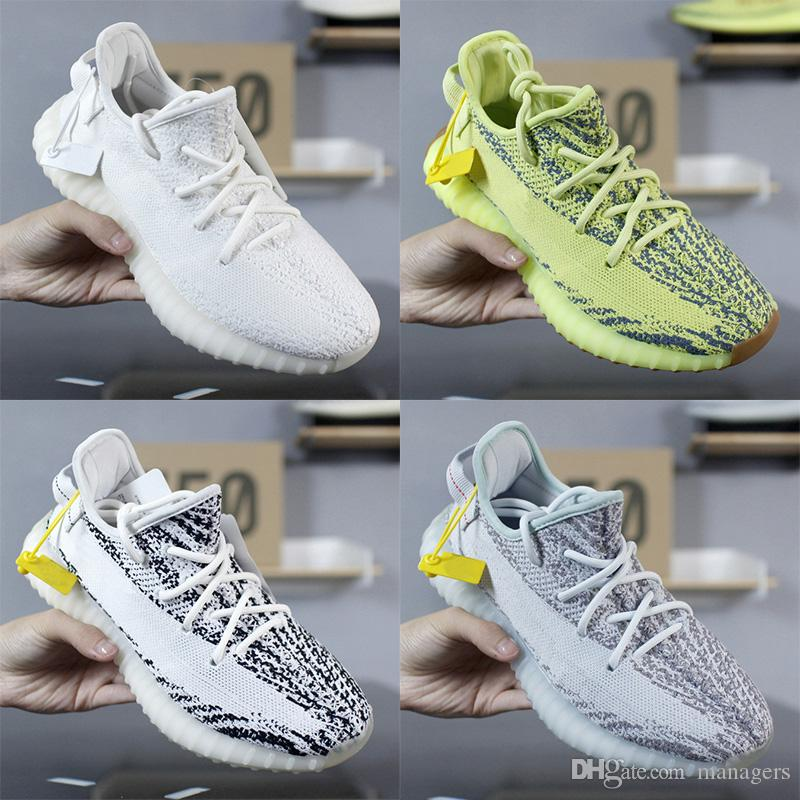 first rate c5f46 fd96f Adidas Yeezy Boost 350 V2 Sneakers 2019 New Static Cream White Running Shoes  Para Mujer Para Mujer Tinte Azul Cebra Diseñador De Entrenadores Llavero  Recibo ...