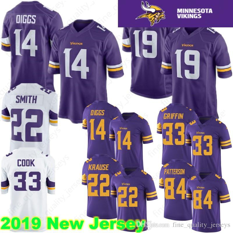 huge discount 36b54 2bdfc 19 Adam Thielen 14 Stefon Diggs Minnesota 22 Harrison Smith Vikings Jersey  8 Kirk Cousins 84 Randy Moss 33 Cook Hughes Hunter Barr Stitched