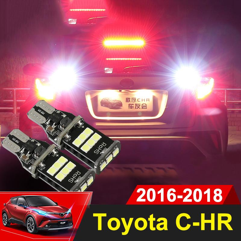 2x W16W T15 White LED Bulbs Canbus OBC Error Free LED Backup Light Reverse  Lamp For Toyota C-HR CHR 2016 2017 2018 Accessories