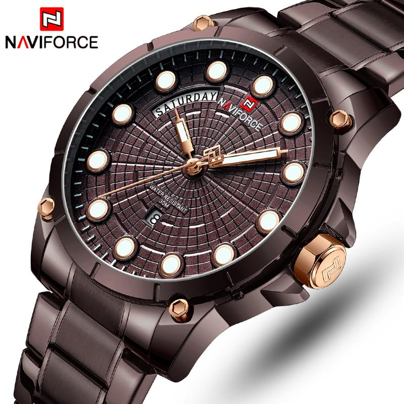 0ab7fe2af2c Top Luxury Brand NAVIFORCE Watches Men Fashion Full Stainless Steel  Waterproof Quartz Clock Mens Wrist Watch Relogio Masculino Chronograph  Watches Cheap ...